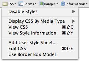 Web developer's toolbar