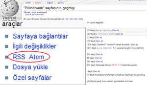 Wikipedi atom ve rss olmak üzere iki farklı seçenek sunuyor