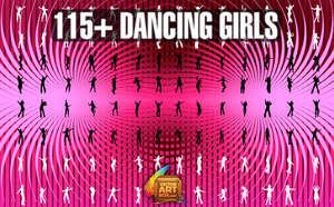 115 Adet Vektörel Formatta Dans Eden Kız Grafikleri