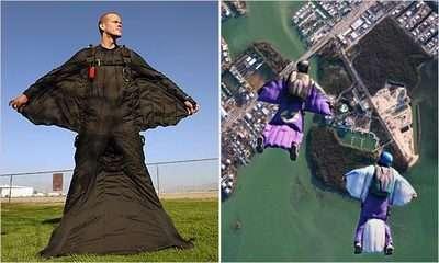 wingsuit denen kostüm ve florida semalarında bir uçuş