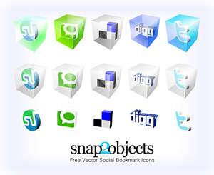 3d sosyal paylaşım ikon paketi