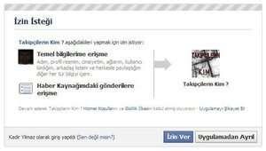 facebook erişim izni