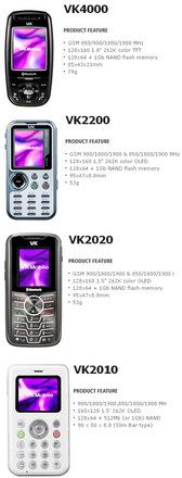 VK Mobile ürünlerinden bazıları